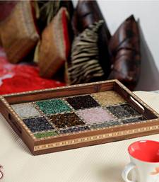 Buy Glass Framed Gemstone wooden tray housewarming-gift online