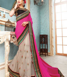 Buy Pink  and  White embroidered georgette saree with blouse party-wear-saree online
