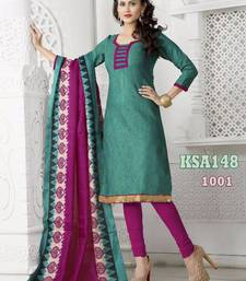 Buy KING SALES NEW LATEST FANCY BOTTLE GREEN AND MAGENTA BANARASI LACE WORK HEAVY INDO CHUDIDAR SUIT salwars-and-churidar online