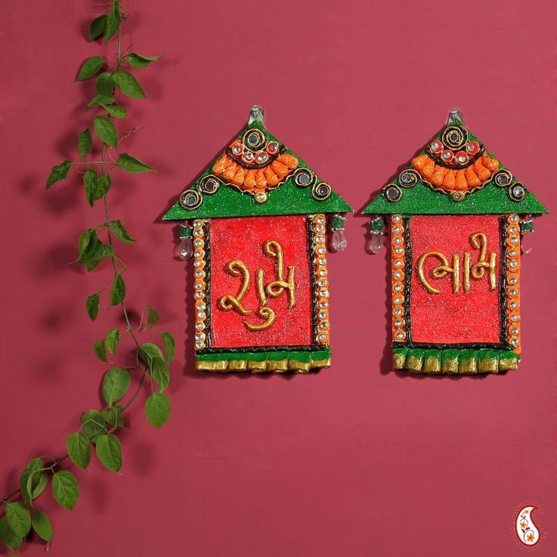 Buy Diwali Decoration Ideas Hut Design Wall Art Hanging With Shubh And Labh Online