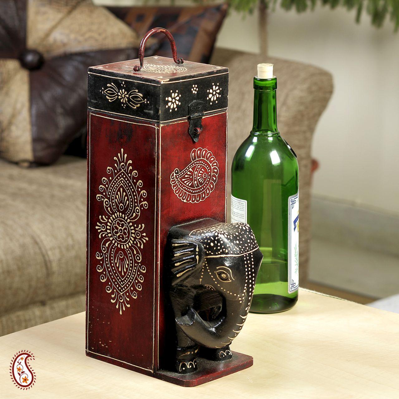 Buy painted elephant head wooden wine bottle holder online - Elephant wine bottle holder ...