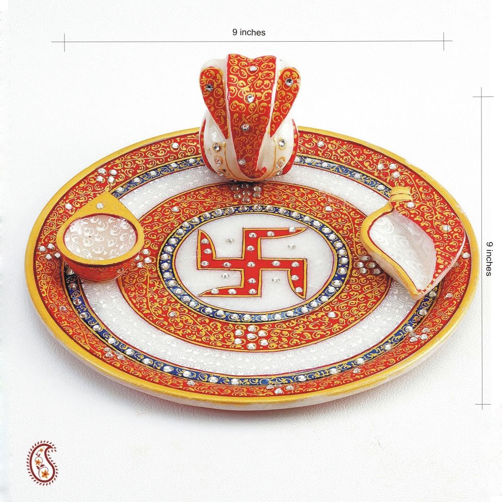 Buy diwali gifts hamper swastika marble aarti thali with for Aarti thali decoration with kundan