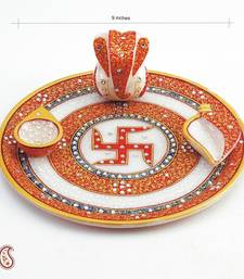 Buy Diwali gifts Hamper Swastika Marble Aarti Thali with Kundan work diwali-corporate-gift online