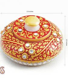 Buy Diwali gifts - Sindoor Daani with Kundan And Gold Paint work in White Marble diwali-corporate-gift online