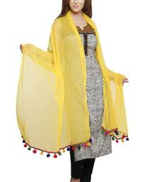 Buy Yellow Georgette Duppata with Multicolor Pom Pom Border stole-and-dupatta online