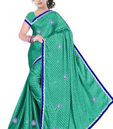 Buy Turquoise embroidered satin saree with blouse satin-saree online