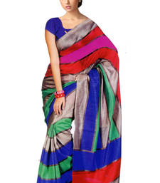 Buy multicolor printed art_silk saree with blouse bhagalpuri-silk-saree online
