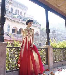 Buy Beautiful Soft Net Hand Embroidered Red & Beige Coloured Wedding Traditional Gowns party-wear-gown online