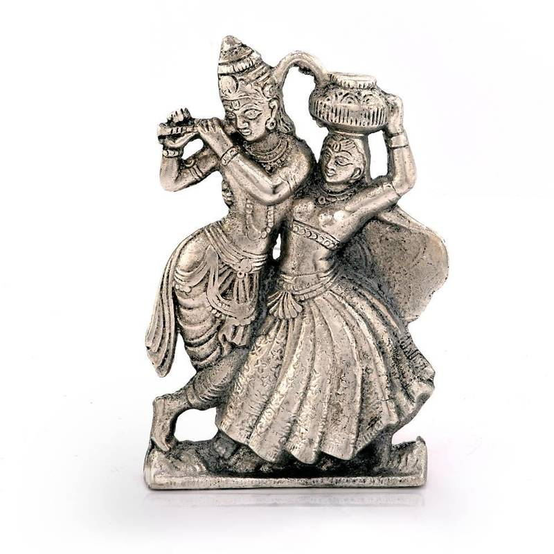 Indian Wedding Gift Articles : ... Lord Radha Krishna Antique White Metal Idol Deepawali Gift 311 Online
