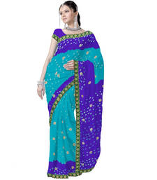 Buy Pure Chiffon Tie and Dye Turquoise Saree n Blouse Deepawali Gift 183 diwali-sarees-collection online