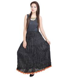 Buy Rajasthani Beautiful Fashionable n Ethnic Black Cotton Long Skirt skirt online