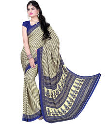 Buy Beige And Blue Pure Crepe Printed saree with blouse crepe-saree online