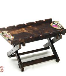 Buy Diwali Gifts Amazing Wooden Tray cum Table with Metallic Handles birthday-gift online