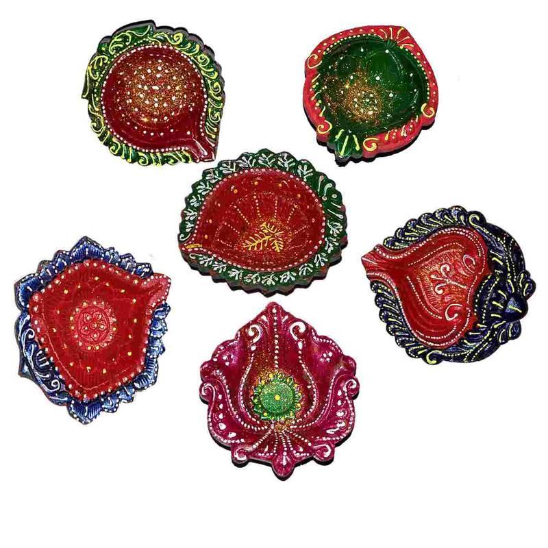 multicolorcolor Beautiful Handpainted Terracota Diya Set of 6 Online