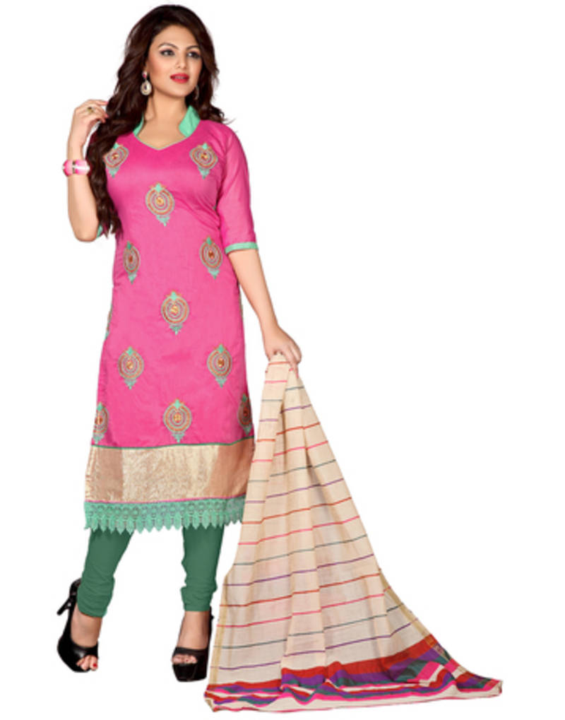 Buy pink embroidered chanderi unstitched dress material online