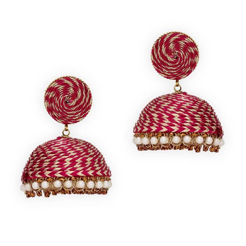Buy Rani Color Big Jhumka Thread Earrings Online