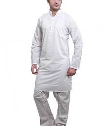 Buy ISHIN  White Cotton Kurta & Pyjama Set men-kurta online