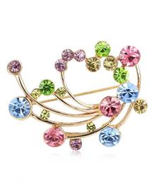 Buy Fancy Multi Color Superb Round Cut CZ 316 Stainless Steel Brooch brooch online
