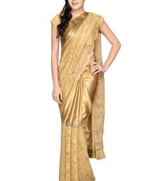 Buy Gold plain silk saree with blouse birthday-gift online
