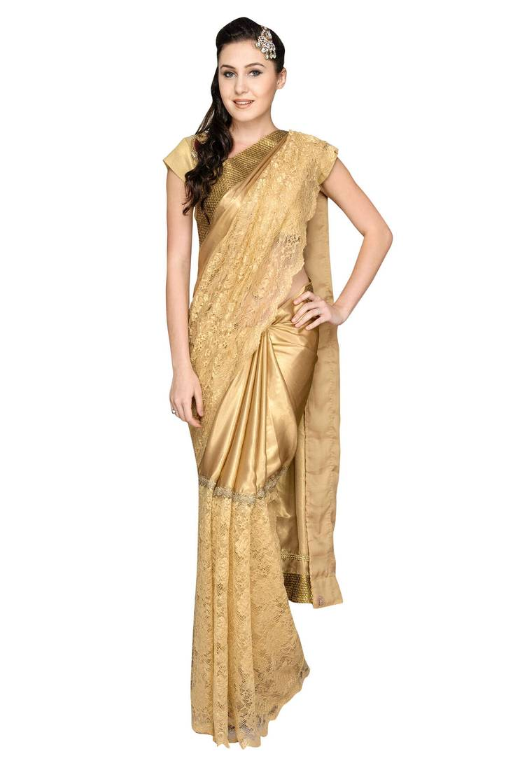 Buy Gold Plain Silk Saree With Blouse Online