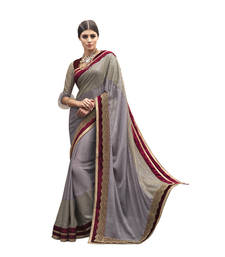 Buy Grey and Maroon embroidered satin saree with blouse satin-saree online