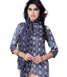 Buy Blue Printed Jacquard 3/4th Sleeves Kurti tunic online