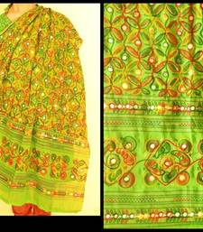 Buy Green Multicolour Kutch Aari work Embroidery with mirror work fully done over Dupatta stole-and-dupatta online