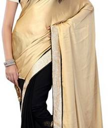 Buy black and beige embroidered satin saree with blouse satin-saree online