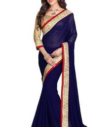 Buy Blue  Georgette Plain saree With Unstiched Blouse georgette-saree online