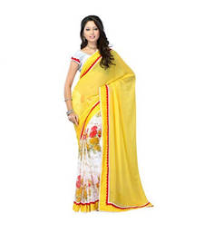 Buy Yellow  Georgette Embroidered saree With Unstiched Blouse georgette-saree online