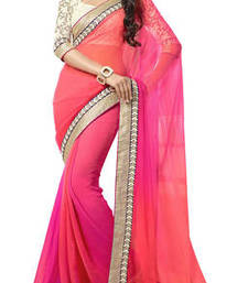 Buy Pink Embroidered Georgette saree With Unstiched Blouse georgette-saree online