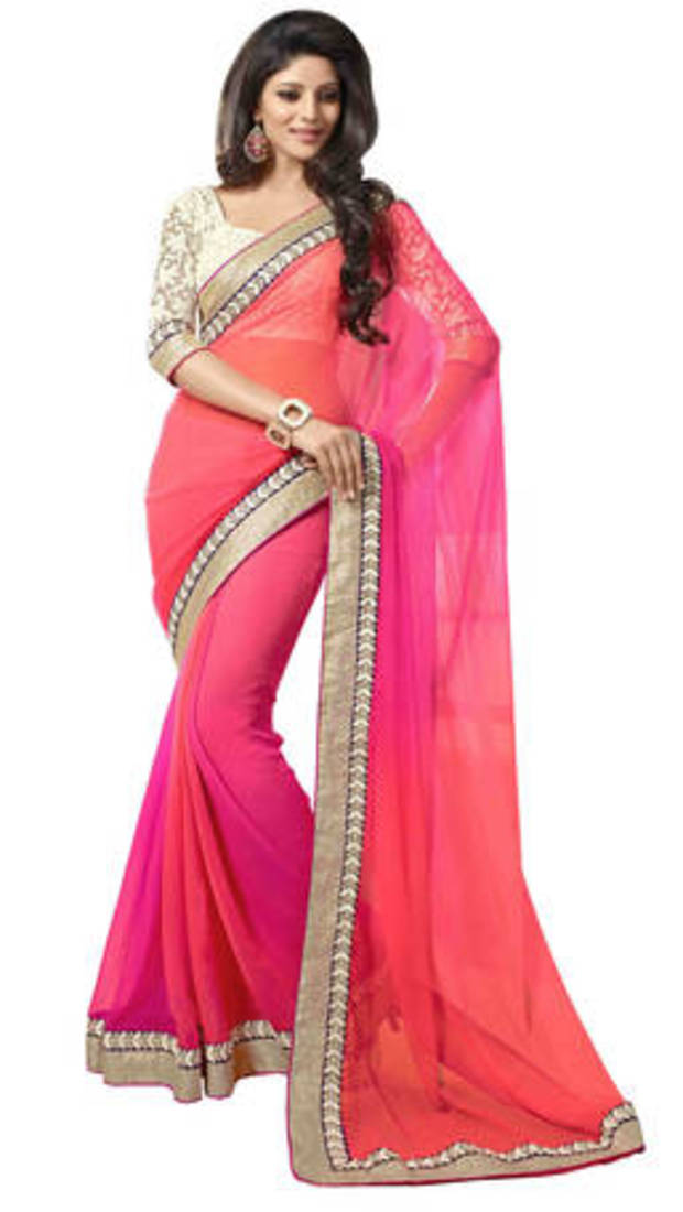 Buy Pink Embroidered Georgette Saree With Unstiched Blouse Online
