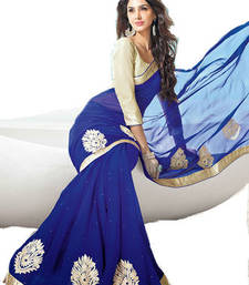 Buy Blue Embroidered Georgette saree With Unstiched Blouse georgette-saree online