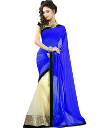 Buy Blue  and  White embroidered Georgette saree with blouse art-silk-saree online