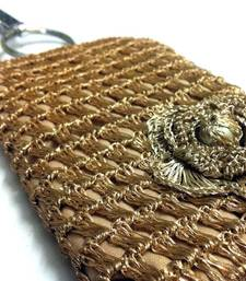 Buy Smart Phone Crochet Covers | Golden Zari | Light Golden Zari Flower phone-case online