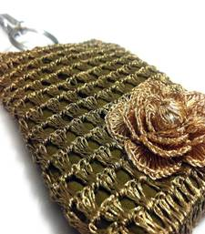 Buy Smart Phone Crochet Covers | Copper Zari | Golden Zari Flower phone-case online