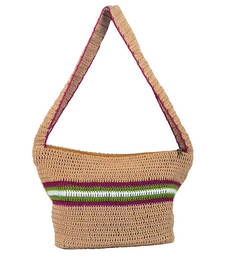 Buy Solitary Crochet Shoulder Handbag | Beige jhola-bag online