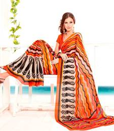 Buy Elegant Satin Chiffon Saree Designer Print With Blouse Piece D.No 6010A satin-saree online