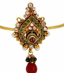 Buy Modern Style & Antique Design Gold Plated Bajuband with Red Green Stone and Beautiful White pearl For Bridal Jewellery bajuband online