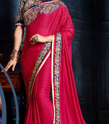 Buy Pink Georgette Embroidered Saree With Blouse party-wear-saree online