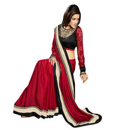 Buy Black and Red embroidered satin saree with blouse satin-saree online