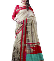 Buy Beige and Red printed art silk saree with blouse art-silk-saree online