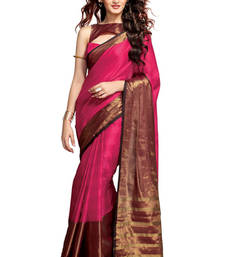 Buy Pink & Brown Printed Cotton Saree with Blouse cotton-saree online