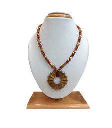 Buy Brass Beaded Dhokra (Tribal) Necklace With Rounded Pendant (Pink) Necklace online
