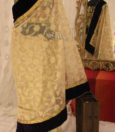 Light Gold and Purple Saree shop online