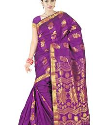 Purple Traditional Latest Silk Zari Border Saree PS153 shop online