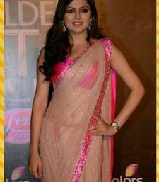 Buy Off White  and  Pink Net Saree With Dupion Silk Blouse other-actress-saree online