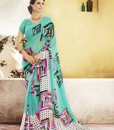 Buy Light Blue Printed Georgette Saree with blouse georgette-saree online