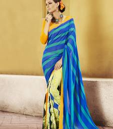 Buy Blue and  Green Printed Georgette Saree with blouse georgette-saree online
