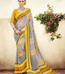Buy Mustard and  Grey Printed Georgette Saree with blouse georgette-saree online